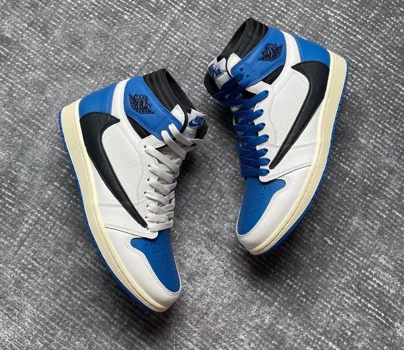 Travis Scott Fragment Air Jordan 1 High OG Military Blue On-Feet