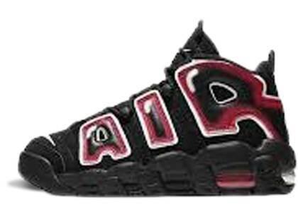Nike Air More Uptempo Black White Laser Crimson GSの写真