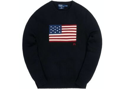 Kith x Polo Ralph Lauren Cotton American Flag Crewneck Blackの写真