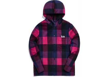 Kith Plaid Wool Ginza Hooded Shirt Pinkの写真