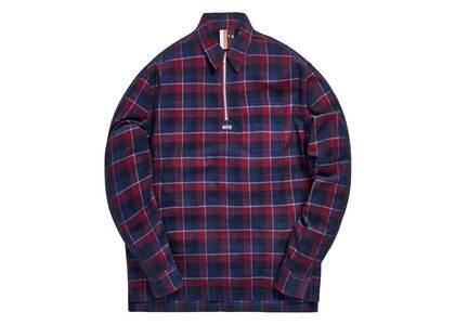 Kith Quarter Zip Collared Shirt Navy/Redの写真