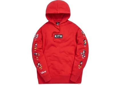 Kith x Disney Mickey Sleeve Patches Hoodie Redの写真