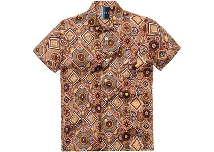Kith Satin Geometric Tile Print Camp Shirt Tumericの写真