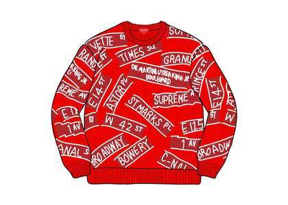 Supreme Street Signs Sweater Redの写真