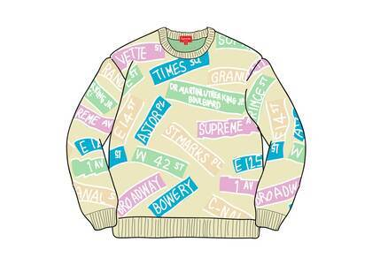 Supreme Street Signs Sweater Naturalの写真