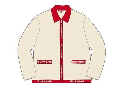 Supreme Logo Trim Zip Up Cardigan Whiteの写真