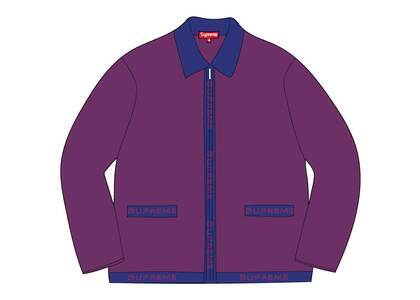 Supreme Logo Trim Zip Up Cardigan Purpleの写真
