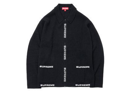 Supreme Logo Trim Zip Up Cardigan Blackの写真