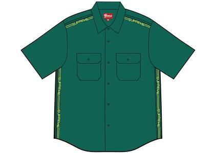 Supreme Logo Rib S/S Work Shirt Greenの写真