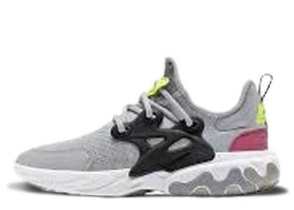 Nike React Presto Wolf Grey Black Rush Pink Volt GSの写真