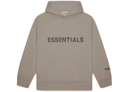 ESSENTIALS Pullover Hoodie Applique Logo Taupeの写真