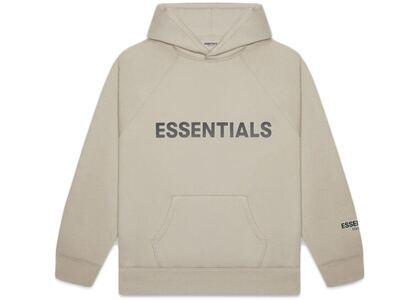 ESSENTIALS Pullover Hoodie Applique Logo Olive/Khakiの写真