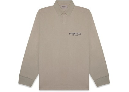 ESSENTIALS Long Sleeve Boxy Polo Taupeの写真