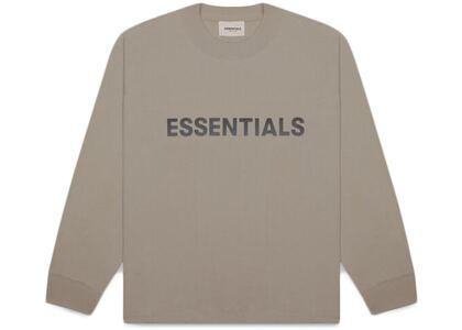 ESSENTIALS Boxy Long Sleeve T-Shirt Applique Logo Taupeの写真