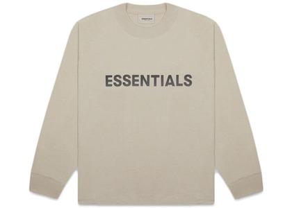 ESSENTIALS Boxy Long Sleeve T-Shirt Applique Logo Olive/Khakiの写真