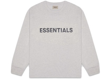 ESSENTIALS 3D Silicon Applique Boxy Long Sleeve T-Shirt Heather Oatmealの写真