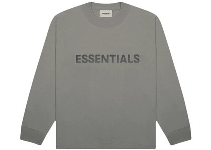 ESSENTIALS 3D Silicon Applique Boxy Long Sleeve T-Shirt Gray Flannel/Charcoalの写真