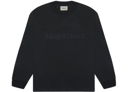 ESSENTIALS 3D Silicon Applique Boxy Long Sleeve T-Shirt Dark Slate/Stretch Limo/Blackの写真