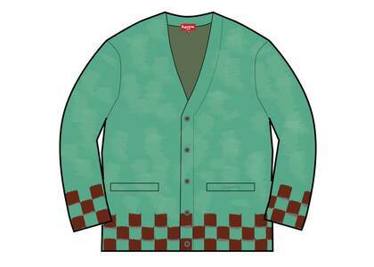 Supreme Brushed Checkerboard Cardigan Mintの写真