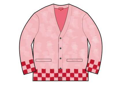 Supreme Brushed Checkerboard Cardigan Pinkの写真