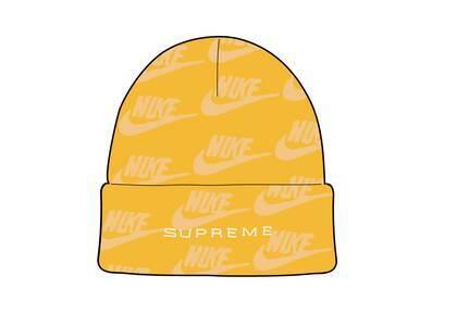 Supreme Nike Jacquard Logos Beanie Pale Yellow (SS21)の写真