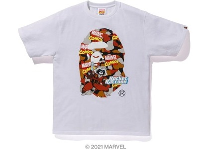 Bape x Marvel Comics Camo Rocket Raccoon Tee White (SS21)の写真