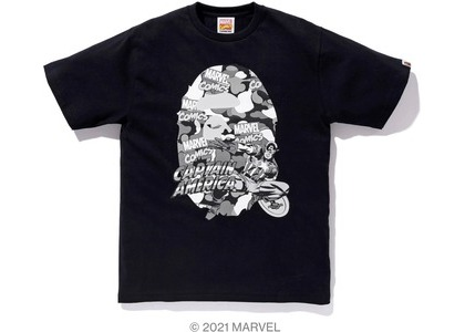 Bape x Marvel Comics Camo Captain America Tee Black (SS21)の写真