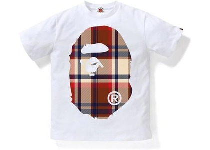 Bape Check Big Ape Head JR Kids Tee White/Red (SS21)の写真