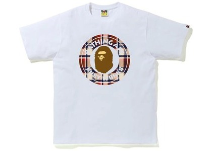 Bape Check Busy Works Tee White/Red (SS21)の写真