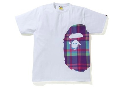 Bape Check Side Big Ape Head Tee White/Purple (SS21)の写真