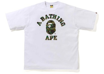 Bape 1st Camo College Relaxe Fit Tee White/Green (SS21)の写真