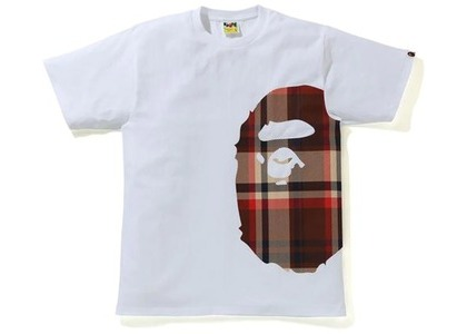 Bape Check Side Big Ape Head Tee White/Red (SS21)の写真