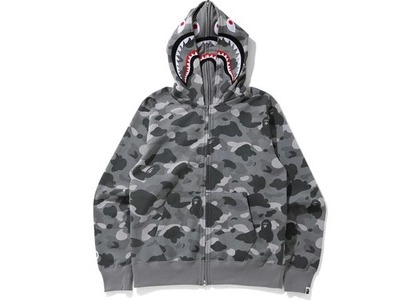 Bape Color Camo Shark Wide Full Zip Double Hoodie Gray (SS21)の写真