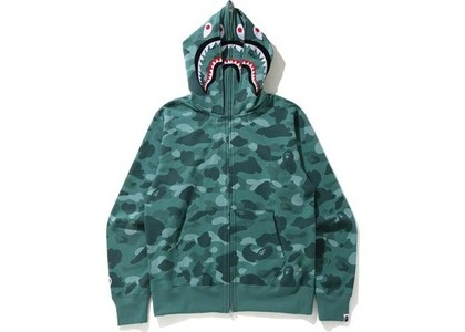 Bape Color Camo Shark Wide Full Zip Double Hoodie Green (SS21)の写真