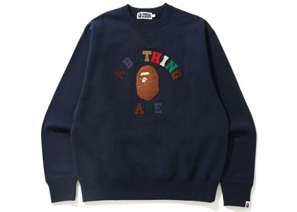 Bape College Applique Relaxed Fit Crewneck Navy (SS21)の写真