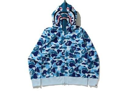 Bape Big ABC Camo Shark Wide Full Zip Double Hoodie Blue (SS21)の写真