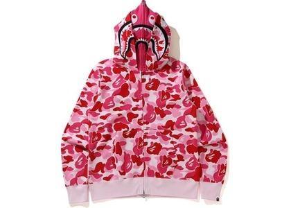 Bape Big ABC Camo Shark Wide Full Zip Double Hoodie Pink (SS21)の写真