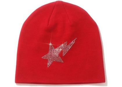 Bape STA Crystal Stone Knit Cap Red (SS21)の写真
