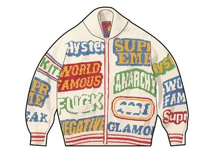 Supreme HYSTERIC GLAMOUR Logos Zip Up Sweater Natural  (SS21)の写真