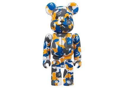 A Bathing Ape × Be@rbrick 28TH Anniversary Bape Camo #1 Blue/Yellow 100%の写真