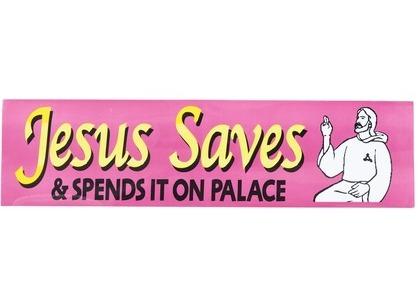 Palace Jesus Saves Bumper Sticker Purple (SS21)の写真