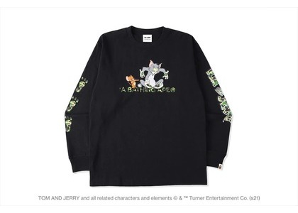 BAPE x Tom and Jerry Footprints L/S Tee Black (SS21)の写真