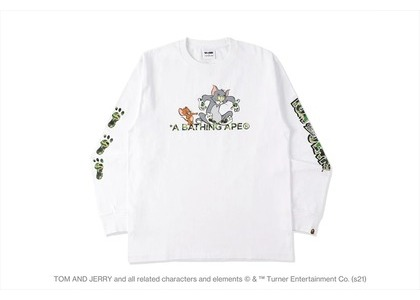 BAPE x Tom and Jerry Footprints L/S Tee White (SS21)の写真