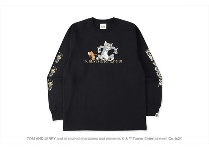 BAPE x Tom and Jerry Footprints Madison Avenue L/S Tee Black (SS21)の写真