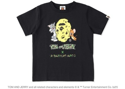 BAPE x Tom and Jerry Cheese Ape Head Womens Tee Black (SS21)の写真