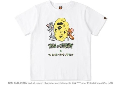 BAPE x Tom and Jerry Cheese Ape Head Womens Tee White (SS21)の写真
