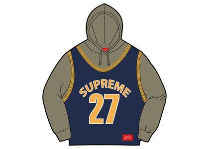 Supreme Basketball Jersey Hooded Sweatshirt Navy/Yellow (SS21)の写真