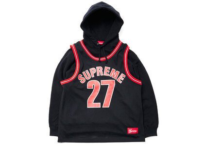Supreme Basketball Jersey Hooded Sweatshirt Black/Red (SS21)の写真
