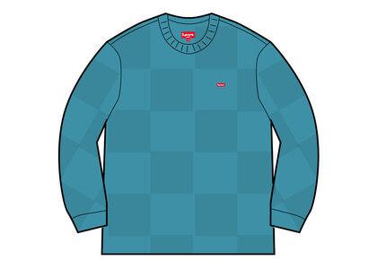 Supreme Tonal Checkerboard Small Box Sweater Light Blue (SS21)の写真