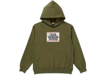 The Black Eye Patch × Wasted Youth Priority Label Hoodie Oliveの写真